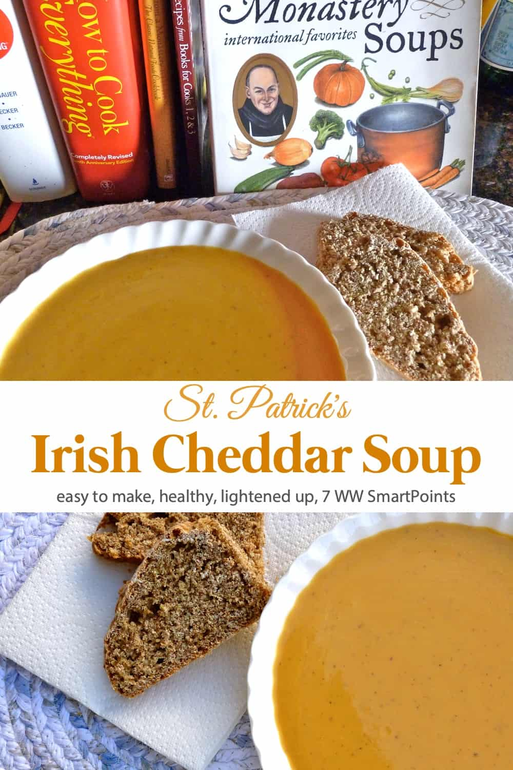 Creamy and flavorful, I served this St. Patrick Irish Cheddar Cheese Soup with smoked salmon and whole grain Irish soda bread for a light yet satisfying Sunday night supper. #irishcheddarcheesesoup #cheesesoup #soup #weightwatchers #ww #wwfamily