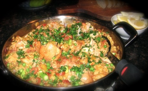 My First Attempt Making Paella wiht Shrimp Chicken and Chorizo - Not Bad If I Say So Myself!
