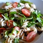 arugula pasta blue cheese salad from above