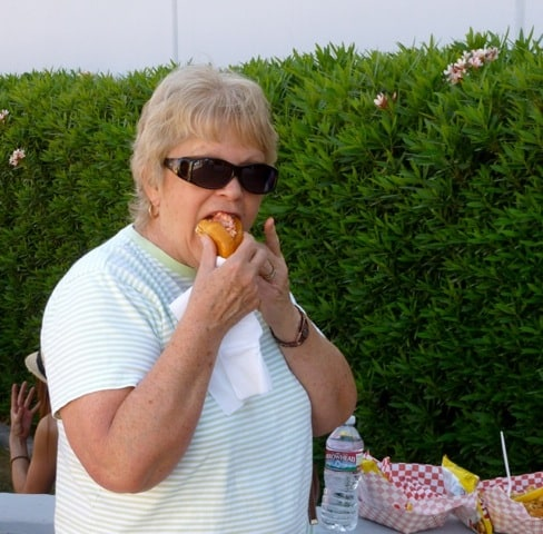 Mom with Her Lobster Roll from the Maine Lobster Lady