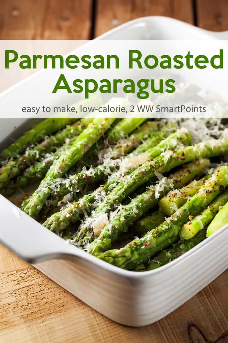 I adapted this Roasted Parmesan Asparagus slightly, reducing it to make enough for four servings instead of six and cutting back a little on the olive oil and Parmesan in the name of Weight Watchers friendliness. Each serving has just 85 calories and 2 WW Freestyle SmartPoints! #simplenourishedliving #weightwatchers #wwfamily #wwsisterhood #ww #easyhealthyrecipes #asparagus #smartpoints #wwfreestyle #wwsmartpoints #becauseitworks #beyondthescale