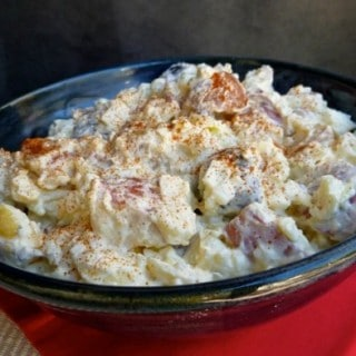 Lightened Up Creamy Red White and Blue Potato Salad Perfect for July 4th