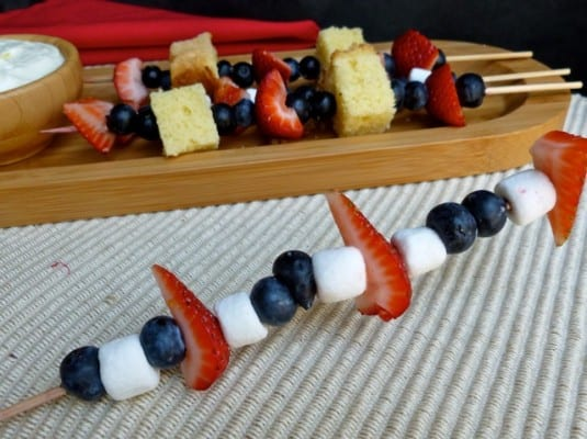 Red White and Blue Fruit Skewers with Blueberries, Strawberries and Mini Marshmallows