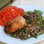Salmon with Warm Lentil and Mixed Green Salad