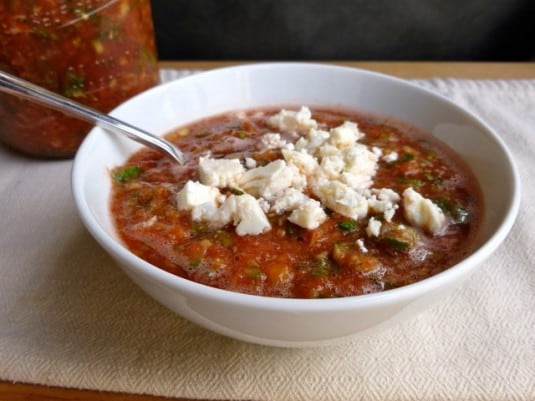 Easy Zesty Watermelon Jalapeño Gazpacho with Feta