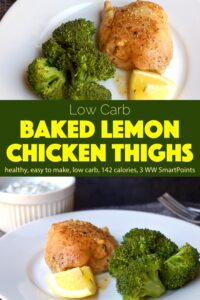 Baked lemon chicken thighs on white plate with steamed broccoli and lemon wedge.