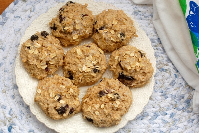 Blueberry oat scones on a white serving plate.