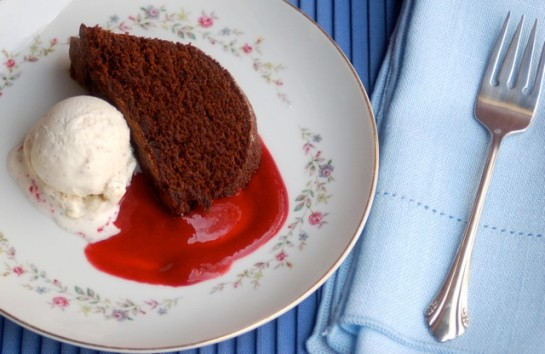 Chocolate Pound Cake with Raspberry Sauce and Ice Cream
