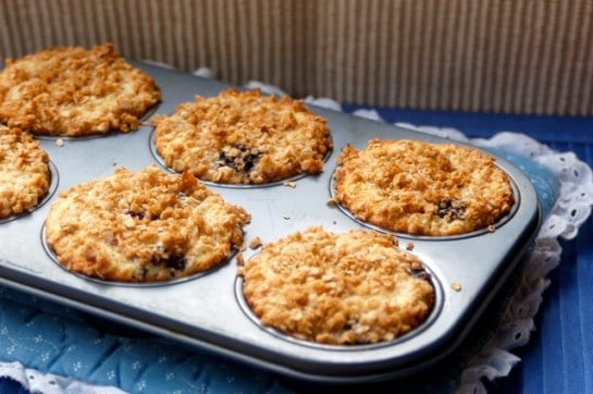 blueberry muffins with streusel topping in a muffin tin on a blue and white pot holder