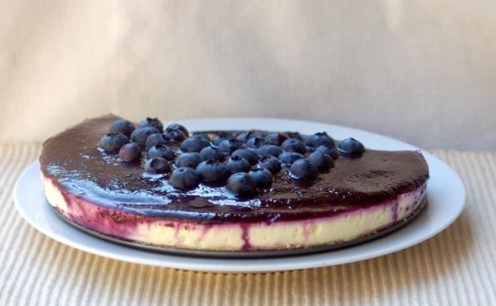 Skinny No Bake Lemon Blueberry Cheesecake