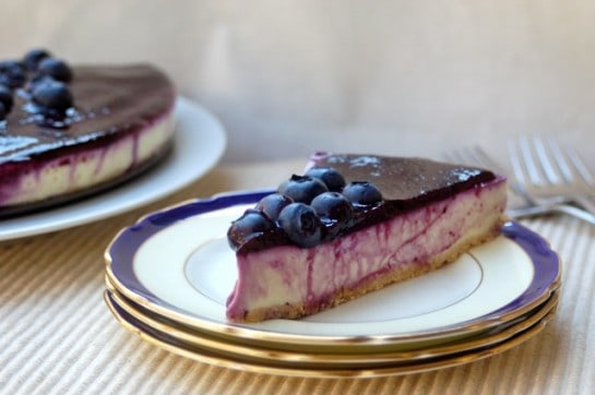 Slice of Skinny No Bake Lemon Blueberry Cheesecake