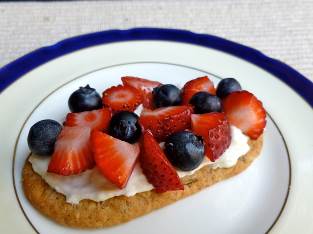 Strawberry Bruschetta with fresh blueberries