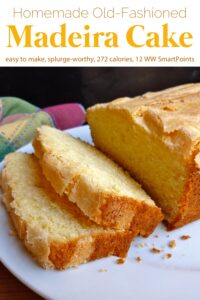 Homemade madeira cake slices with whole cake on white serving plate.