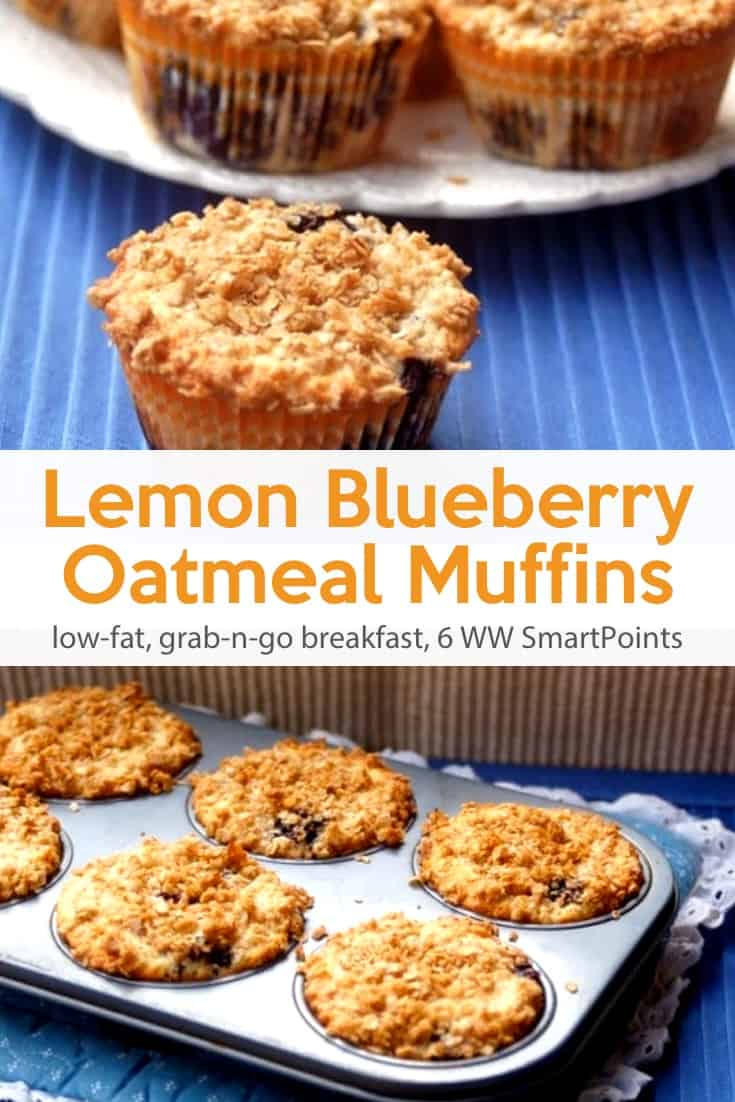 Light and tasty low-fat lemon blueberry oatmeal muffins perfect for an easy and delicious breakfast or snack - only 166 calories, 6 Weight Watchers Freestyle SmartPoints! #simplenourishedliving #weightwatchers #ww #wwfamily #wwsisterhood #smartpoints #wwfreestyle #wwsmartpoints #beyondthescale #becauseitworks #blueberrymuffins