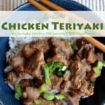 Chicken teriyaki over white rice garnished with sliced green onion in blue bowl with chopsticks.