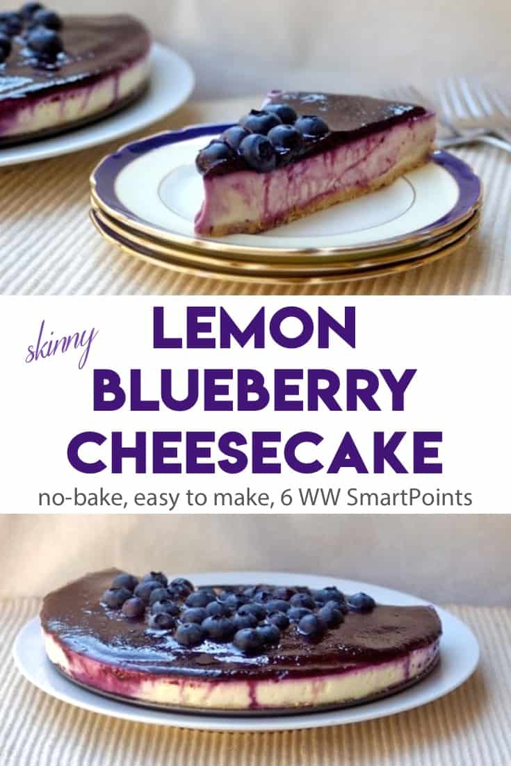 Lemon Blueberry Cheesecake is a light & tasty no-bake alternative to cheesecake made with cottage cheese and lemon gelatin and topped with fresh blueberries - about 6 Weight Watchers Freestyle SmartPoints! #simplenourishedliving #weightwatchers #wwfamily #wwsisterhood #ww #smartpoints #wwfreestyle #wwsmartpoints #nobake #cheesecake #dessert #wwdessert #becauseitworks