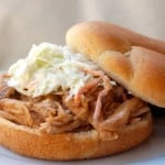Crock Pot Pulled Pork Sandwich on bun with cole slaw
