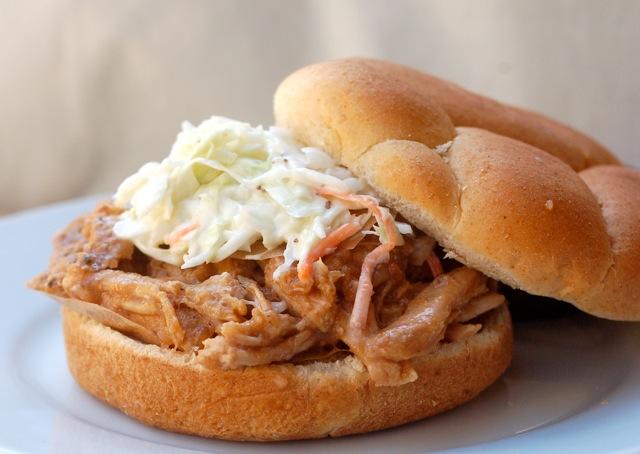 Slow Cooker Pulled Pork Loin Sandwich