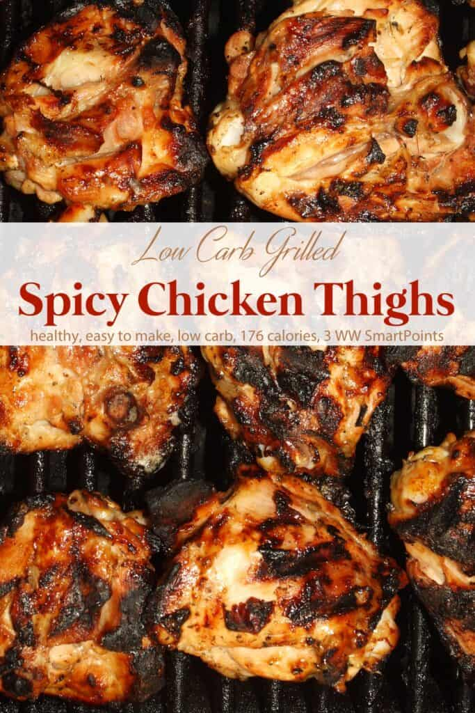 Spicy grilled chicken thighs cooking on a grill.