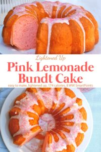 Pink lemonade bundt cake with lemon icing and sugar sprinkles with slice missing on white cake plate.
