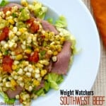 Weight Watchers Southwestern Beef Salad with Chile Lime Dressing white plate from above