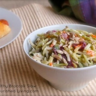 Easy Healthy Broccoli Slaw white bowl on beige textured mat
