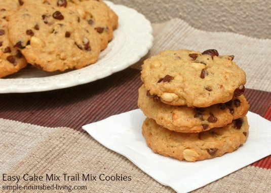 Easy Trail Mix Cookies Using Cake Mix