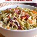 Broccoli slaw with cranberries in white bowl