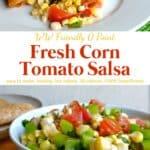 Fresh corn and tomato salsa on white plate with chicken quesadilla.