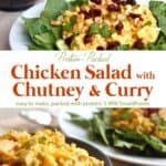 Chicken salad with chutney and curry on bed of greens with bowl of chicken salad nearby.
