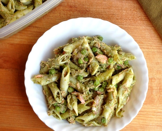 Penne Pasta with Smoked Salmon and Peas on white plate from above