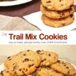 Plate full of Trail Mix Cookies sitting next to three cookies stacked on top of each other.