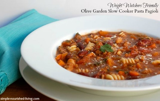 Slow Cooker Pasta Fagioli rimmed white bowl