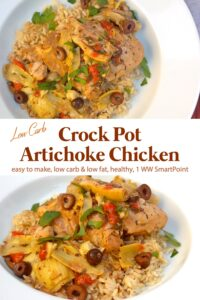 Artichoke chicken with artichoke hearts and kalamata olives over brown rice