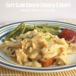 Slow cooker chicken and gravy open face sandwich with green beans