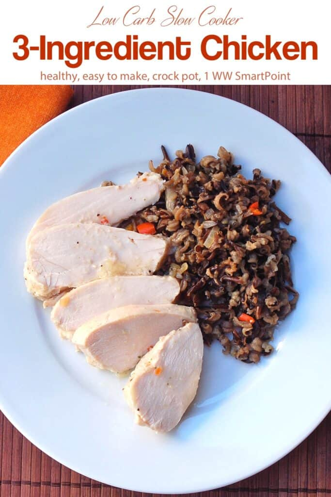 Slices of chicken breast with wild rice salad on a white dinner plate