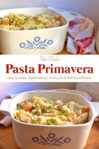 Creamy slow cooker pasta primavera in white serving dish.