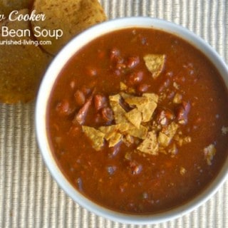 Slow Cooker Baked Bean Soup from above beige textured mat