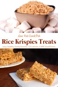 Bowl of Rice Krispies with whole marshmallows near plate of Rice Krispies Treats with two sitting on a napkin.