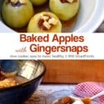 Four apples in crock pot near small glass bowl with baked apples with gingersnap topping.