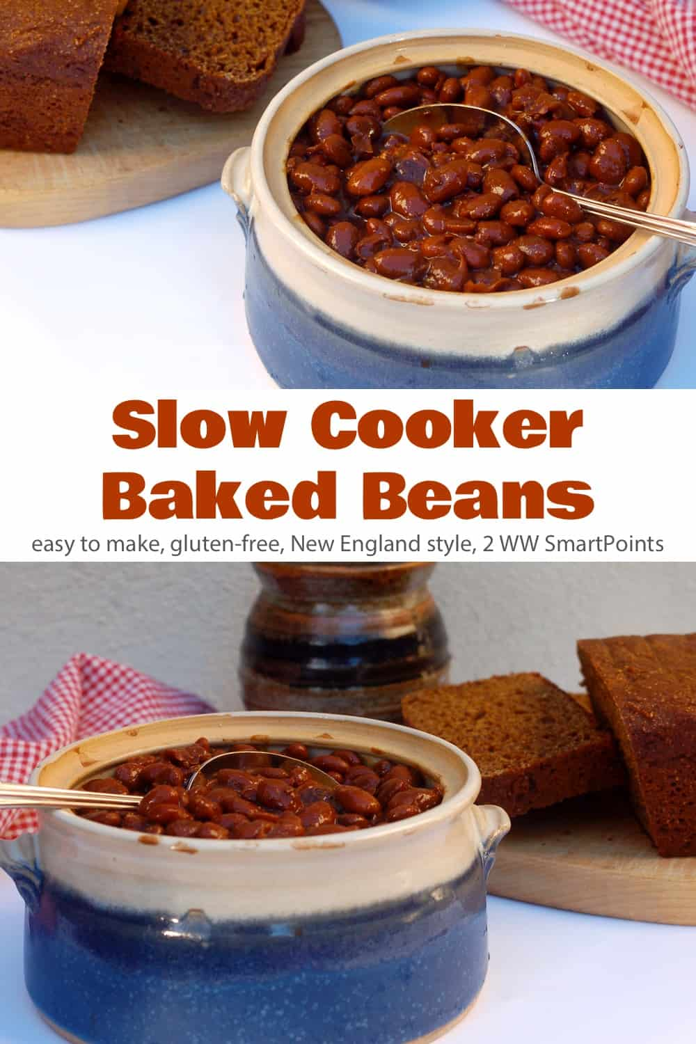 We enjoyed these New England Style Slow Cooker Baked Beans for supper with cole slaw, chicken apple sausages and still warm slow cooker whole wheat bread. And then I had them again on toast for breakfast! #slowcookerbakedbeans #beans #slowcooker #bakedbeans