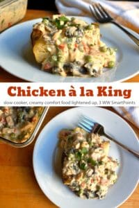 Creamy slow cooker chicken a la king over baked potato on white dinner plate with a fork.