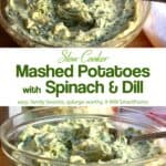 Side view and top view of glass bowl with spinach and dill mashed potatoes