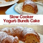 Slow cooker yogurt bundt cake dusted with powdered sugar on serving plate.