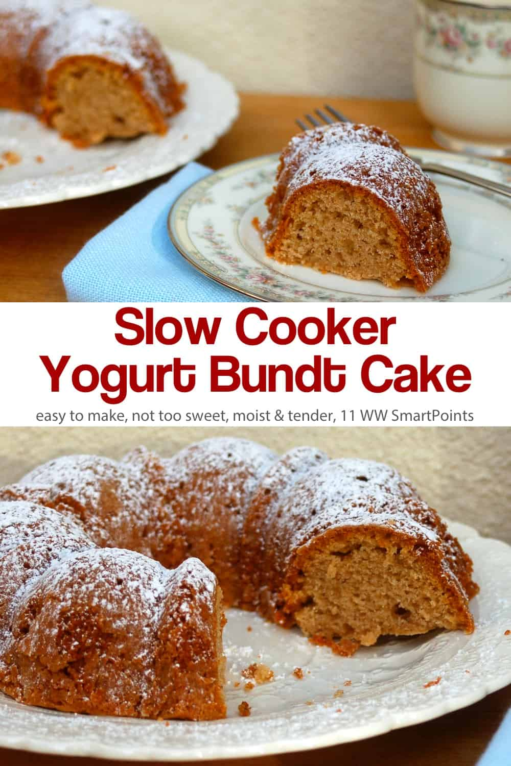 Simple not-too-sweet cakes, like this Slow Cooker Yogurt Bundt Cake, are a favorite. Moist and tender, slightly tangy from the yogurt, and gently spiced, I think you'll love it too. #slowcookeryogurtbundtcake #cake #slowcooker