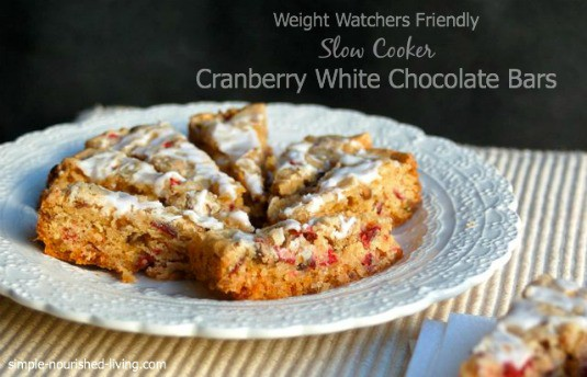 Cranberry Slow Cooker Cookie Bars on a white plate