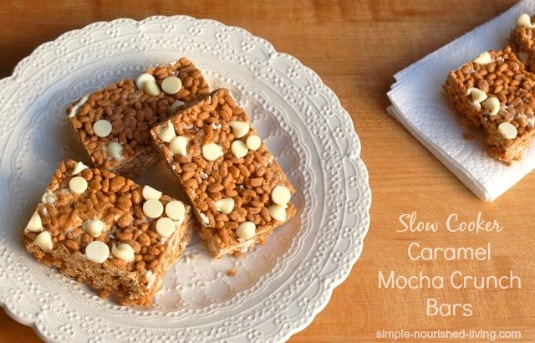 Slow Cooker Caramel Mocha Crunch Bars