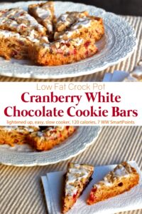 Cranberry white chocolate crock pot cookie bars on white serving platter.