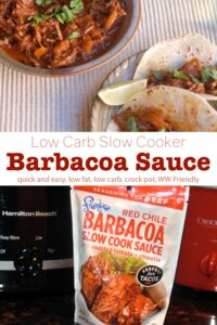 Slow cooker red chile beef barbacoa with Frontera slow cooking sauce.