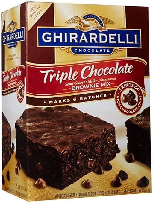 Box of Ghirardelli Triple Chocolate Brownie Mix